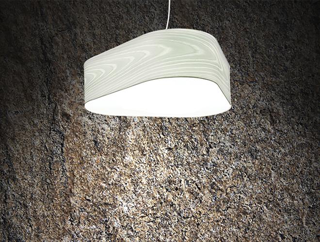 Lámpara suspensión en chapa de madera natural